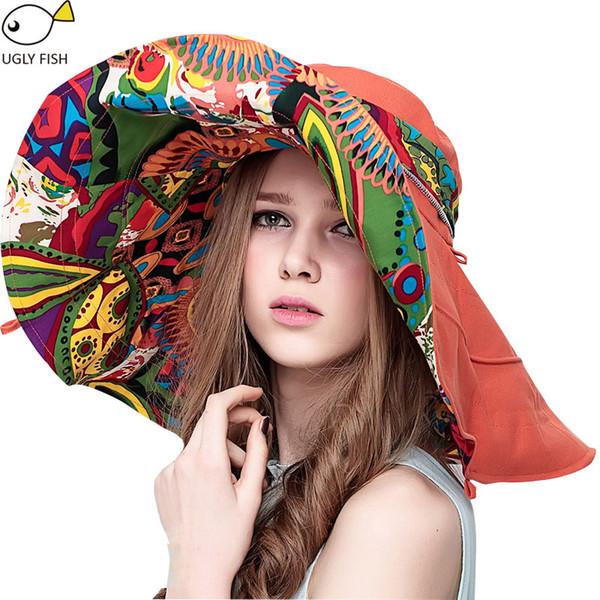 Sun Hats For Women Summer Large Beach Hat Flower Printed Wide Brim Hats Ladies Elegant Hats Girls Vacation Tour Hat Accessories
