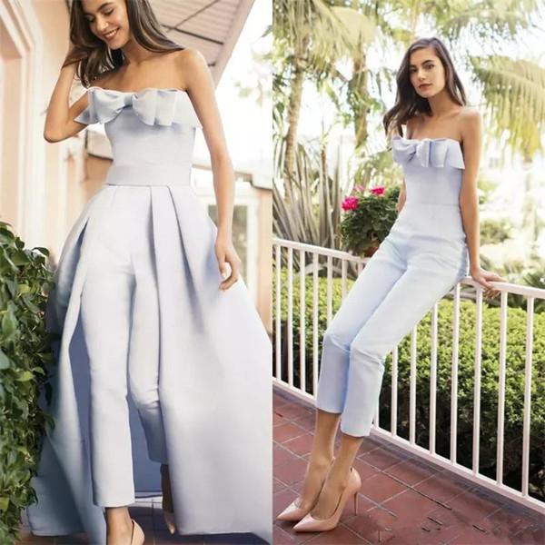 여자 분리형 기차와 드레스를 Jumpsuit 저렴한 저렴한 보우 Strapless 정식 파티 드레스 저녁 착용 Zuhair 무라드 드레스