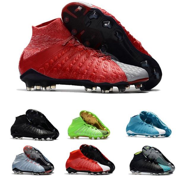 Mens hohe Knöchel Fußballschuh Outdoor FG Hypervenom Phantom III schwarz weiß Fußballschuhe Neymar Fußballschuhe Schuhplatten Herrenschuhe