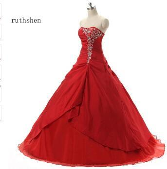 ruthshen Red Cheap Quinceanera Dresses Pleats Ruffles Embroidery Masquerade Ball Gowns 2018 Vestidos De 15 Anos Debutante
