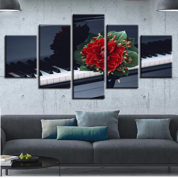 Wall Art Poster Home Decor For Living Room Framework Canvas 5 Pieces Flower And Piano Paintings Modular HD Prints Music Pictures