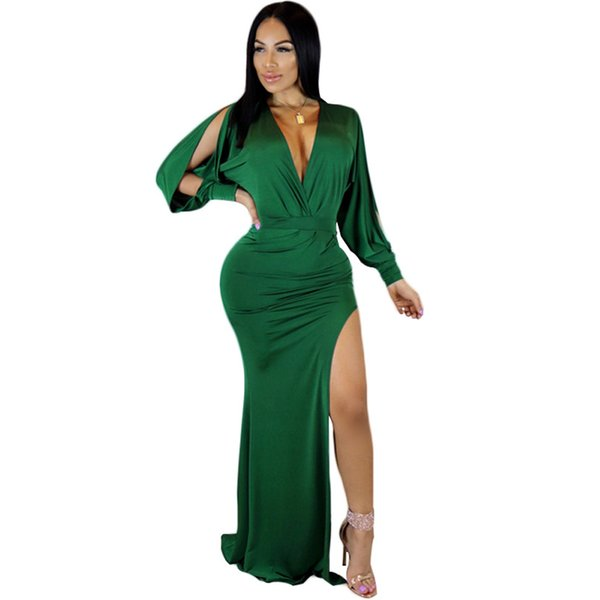 Women High Split Club Dress Solid Deep V Neck Slit Long Sleeve Bodycon Runway Dress Sexy Ladies Clubwear Chic Party Dress Green