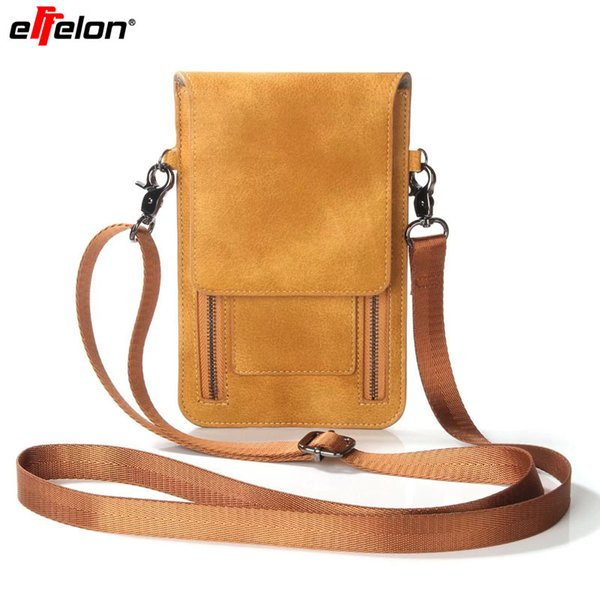 Effelon Universal Pu Leather Cell Phone Bag Shoulder Pocket Wallet Pouch Case Neck Strap For Samsung /Iphone /Huawei /Lg