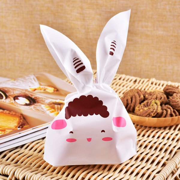 AGI-070 50PCS Easter Bunny Cookies Bag Wedding Favors And Gifts Cute Rabbit Ear Plastic Candy Gift Bag Birthday Party Supplies