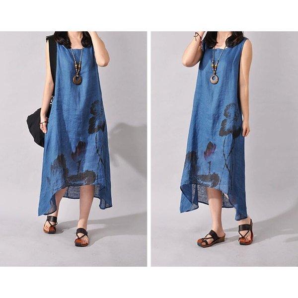 Çin Etnik Mürekkep Baskılı Robe Elbise Kadınlar Yaz Vintage A-line Yelek Uzun Elbise Kolsuz Keten Etek Edebi Artı Boyutu Kadın Giysileri