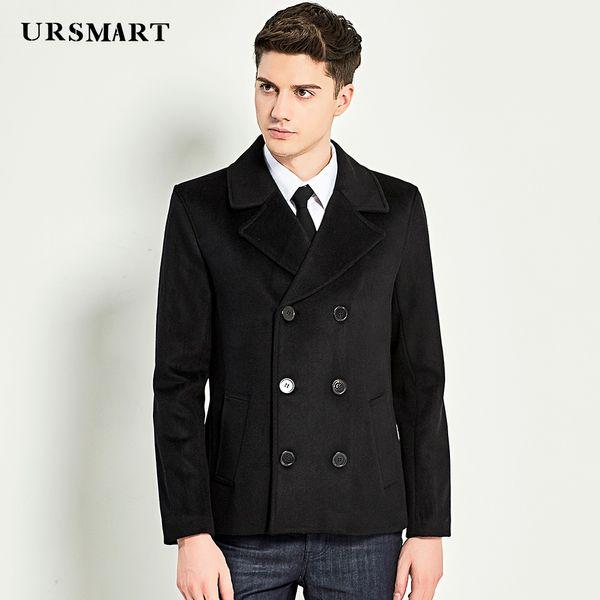 URSMART Authentic short wool coat men's coat fashion casual black men's trend short men