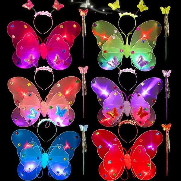 LED Flashing Butterfly Wings Colors Baby Girl Kids Magic Wand Headband Halloween Gifts Costume Novelty Gag Light Up Toys