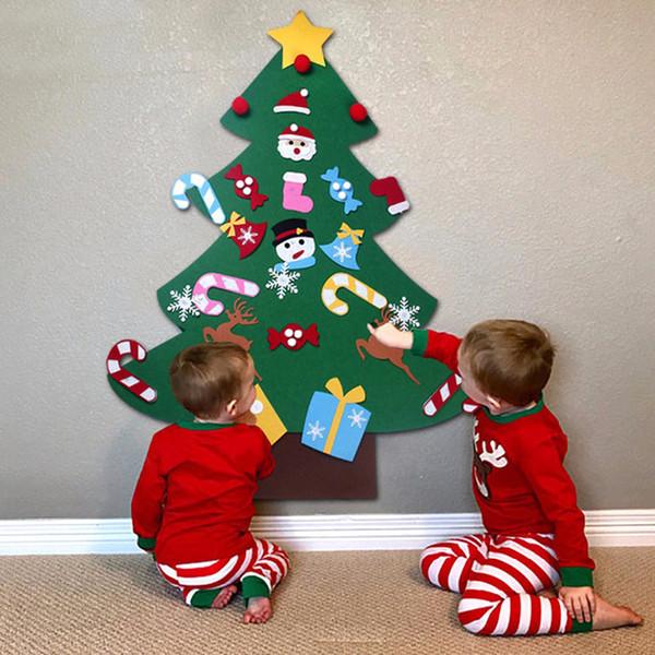 Kids DIY Felt Christmas Tree Decorations Xmas Hanging Ornaments Home Decor Happy New Year 2019 Children Christmas Gift Supplies Y18102909