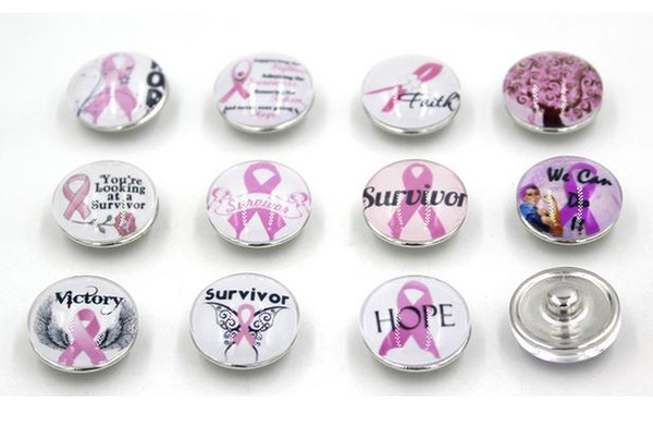 top popular Free Shipping Pink Ribbon Breast Cancer Awareness Snap Buttons Charms 18mm DIY Snaps Interchangeable Buttons for Snap Jewelry Bracelet Rings 2021