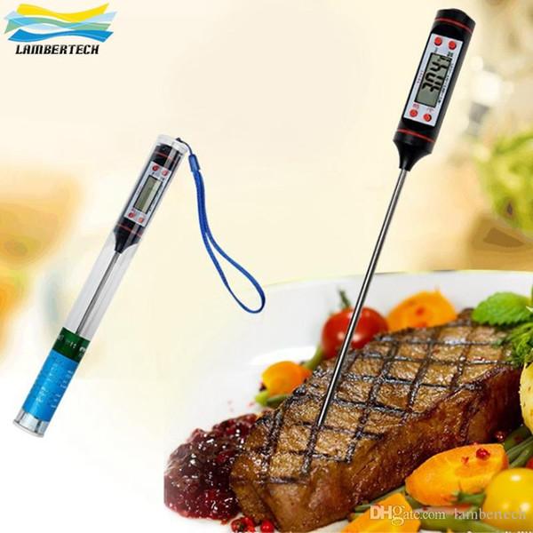 TP101 Dijital LCD Ekran Mutfak Gıda Termometre Pişirme Gıda Probe BARBEKÜ Pişirme Et Termometreler Araçları Ile Probe Toptan