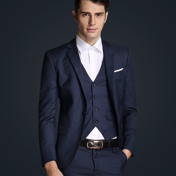 Top Quality 2018 Mens Slim Suits Set 3 Psc Blazer+Vest+Pants Groom Wedding Suits For Men Dress Suit Navy/Red/Grey Jacket