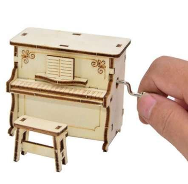 New arrivials diy caixa de música de madeira manivela feliz aniversário presente das crianças do piano estilo musical toy