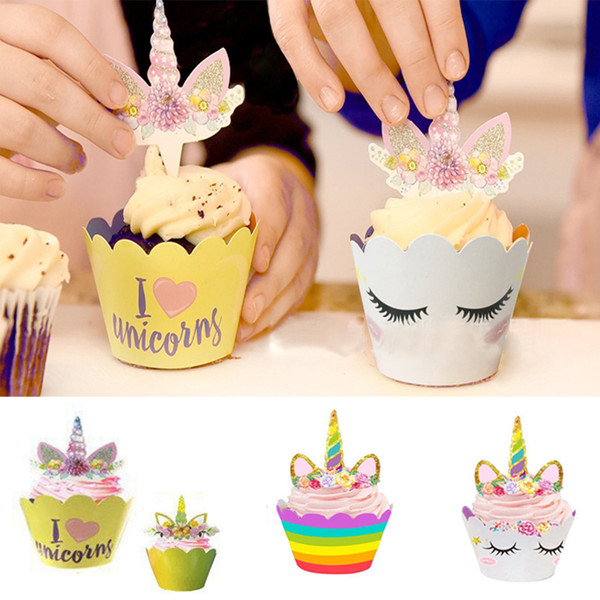 Cute Rainbow Unicorn Cupcake cake Wrapper with topper cards Liner Baking Cup paper for wedding birthday tea party decoration