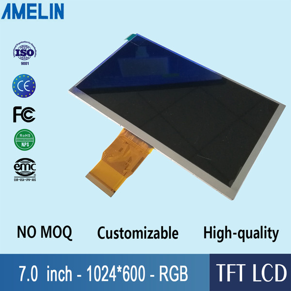 7 inch 1024*600 TFT LCD module display with RGB interface panel and 100mm width IPS viewing angle screen