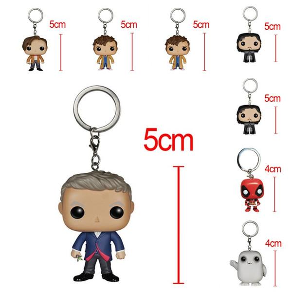 Funko POP Marvel Super Hero Keychain Doctor Who Joker Game Of Thrones Figurines Toy Key Ring Cute Cartoon Doll Charms 14 5xx Z