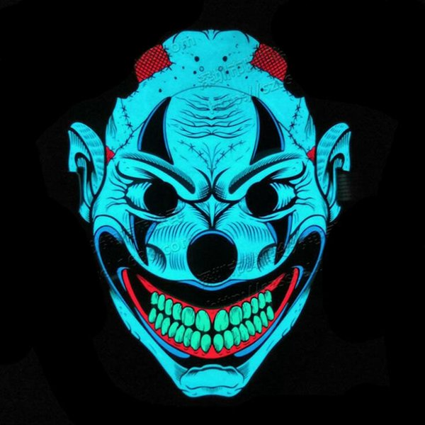 Hanzi_masks New Styles EL Wire Glowing Mask Party Mask LED Neon Light up Neon Mask For Halloween Party Scary Party Them Cosplay Decor