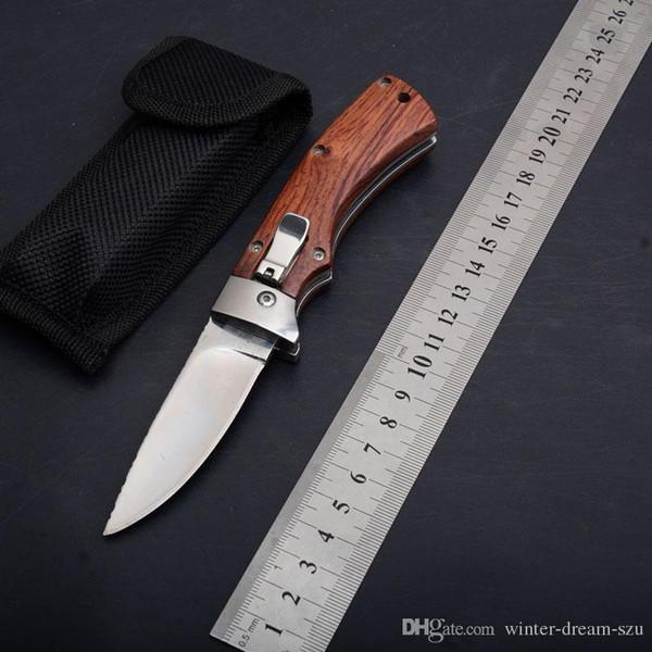 Yan Açık Pürüzsüz Eylem Cep EDC Araçları 8CR13 Saten Blade Katlanır Bıçak Naylon Çanta Ile Taktik Kamp Survival Noel Hediye Bıçaklar P444R