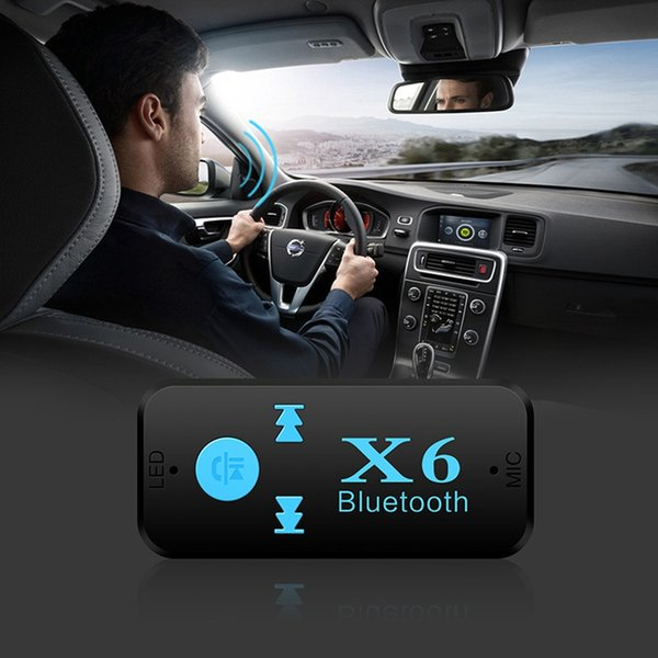 3.5mm Bluetooth Car Kit Wireless AUX Audio Music Receiver Adapter Handsfree with Mic For Phone MP3 Retail Box X6