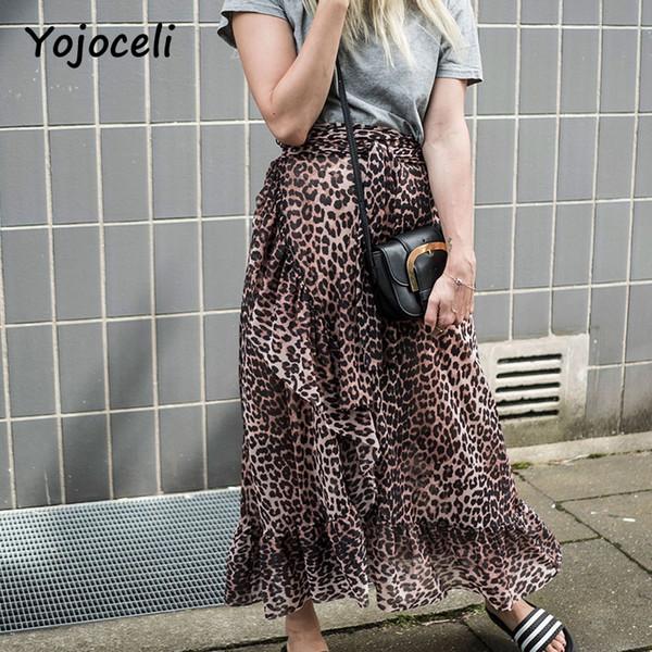 Yojoceli 2018 streetwear jupe imprimée léopard femme midi romantique à volants jupe volantée boho beach longue femme