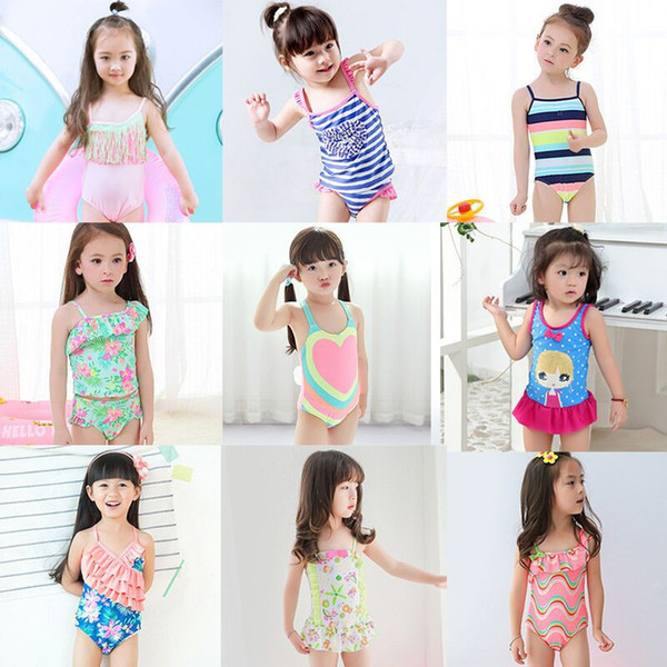 top popular 2018 Girls Swimwear Cute Princess One Pieces Swimsuit Kids Ruffled Swimming Suit For Girl Children Bathing Suit 2020
