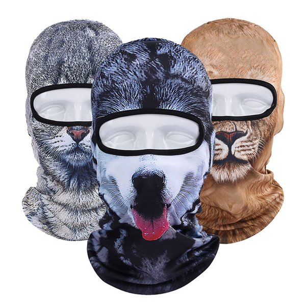 Fashion Dust-proof Headgear Animal Cat Dog Lion Tiger Pattern Men Women Full Face Mask Balaclava Hood Cover Neck Scarf Hats