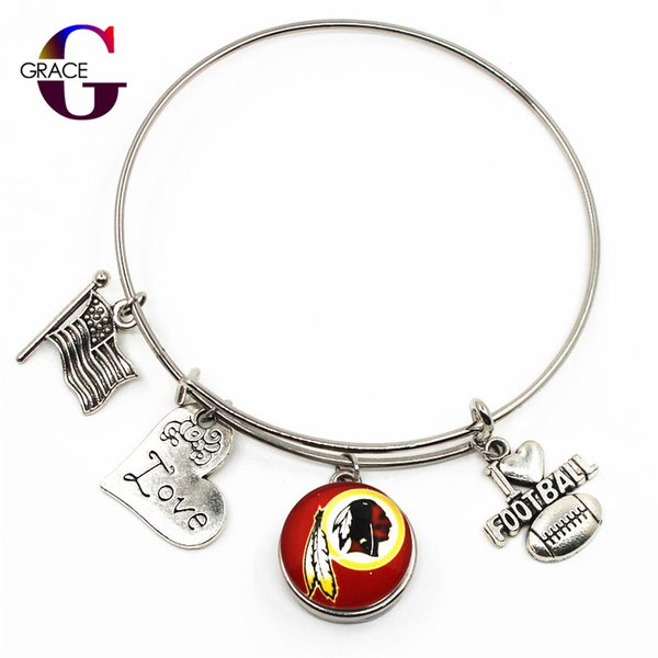 Heart Love Charms With Football Sports Team Ginger Snap Buttons Adjustable Expandable Bangle Charm Bracelet For Women