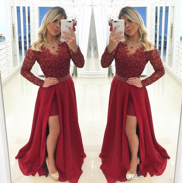 Dark Red Prom Dresses Side Split Long Sleeve Beaded Lace Pearls Waist Burgundy Evening Dress Formal Party Gown Plus Size