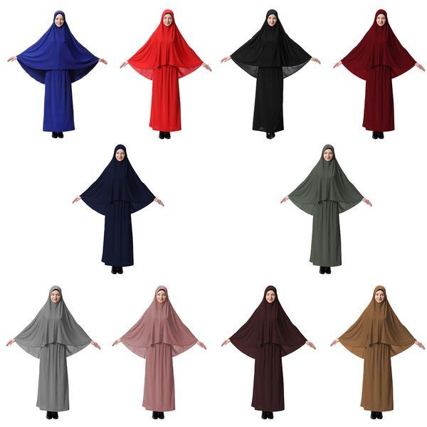 top popular Muslim JILBAB Arab block skirt suit L XL solid color Moslem hijabs Muslem tight skirt suit milk fiber 2019