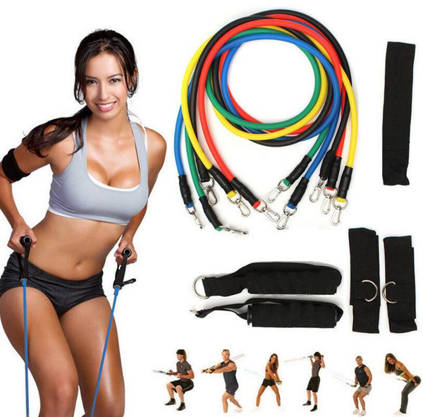 top popular 11 Pcs Set Resistance Band Yoga Pilates Yoga Workout Body Exercise Fitness Tube Workout Bands EEA235 10PCS 2019