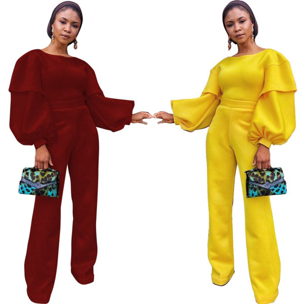 womens long balloon sleeve jumpsuit solid color o-neck loose romper elegant fashion sexy jumpsuit comfortable plus size romper hot 09