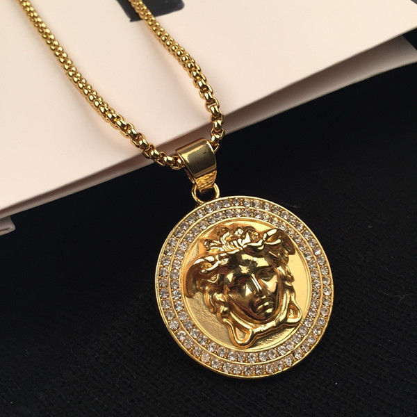 Top Quality Medusa Pendant Necklaces For Men 2017 Hot Hiphop Jewelry Gold Plated Luxury Accessories Free Shipping