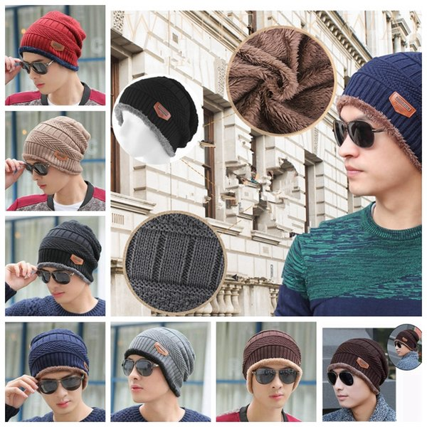 6 colors Men Women Soft Knitted Cap Wool Beanie Velvet Wool Cap Winter Outdoor Ski Hand Crochet Warm Cap MMA1106
