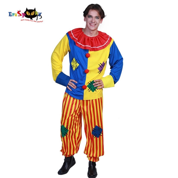 Plus size Carnevale Mens Costumi di Halloween Big Top Clown Costume adulto Circo Joker Patch Arlecchino Suit Outfit Clown Cosplay