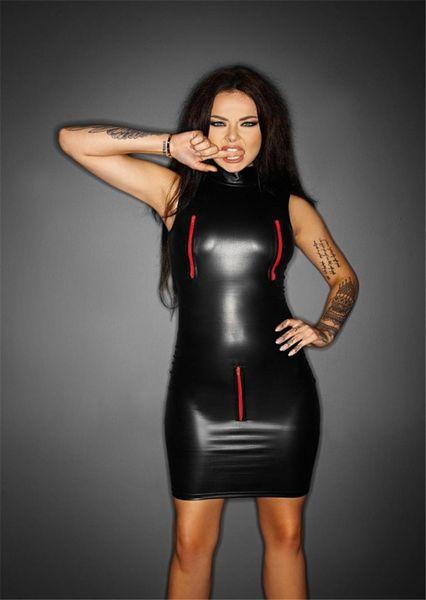 New Sexy Faux PVC Leather Lingerie Zipper Open Bra Crotch Bodysuit Plus Size Jumpsuit Latex Catsuit Leotard