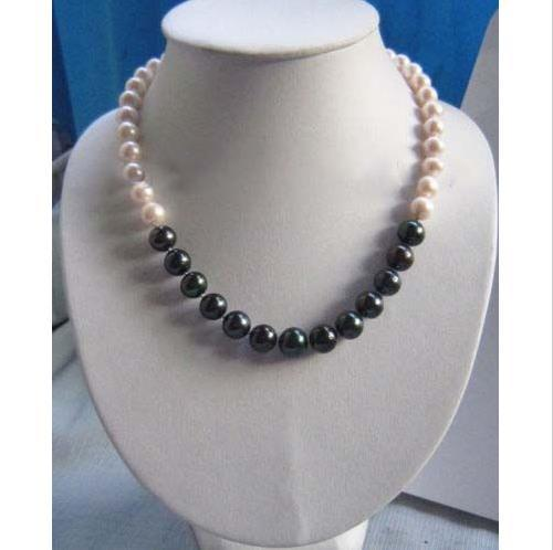 14k gold clasp AAA 9-12MM NATURAL Black with white PEARL NECKLACE 18