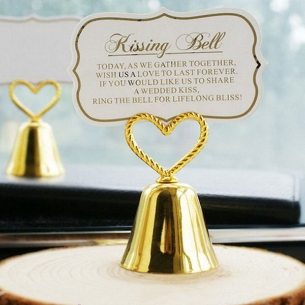 50PCS Gold Kissing Bell Place Card Holder with Matching Paper Card Wedding Bridal Shower Party Table Decor Supplies Engagement Favors Ideas