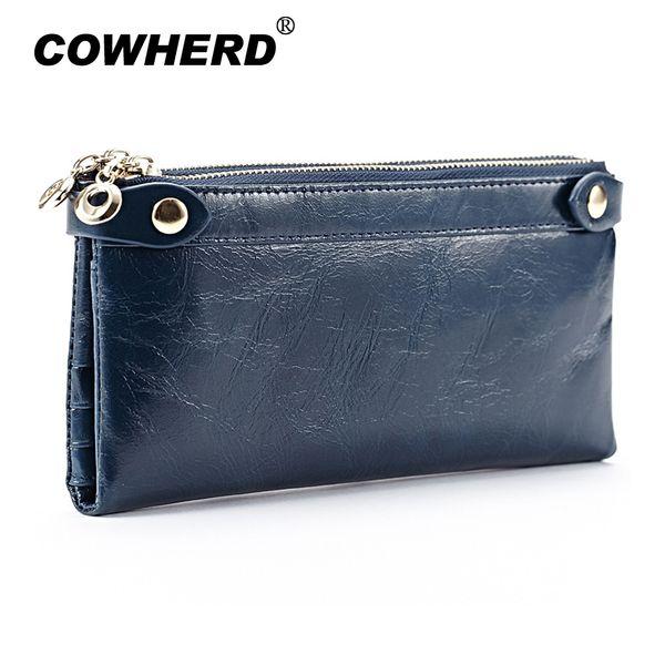 Luxury Women Long Wallet Genuine Leather Double Zipper Coin Purses For Female Clutch Bags Oil Wax Cowhide Card Holders