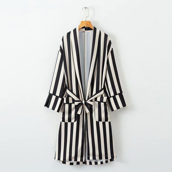 2018 Casual Lapel Bow Tied Sashes Long Striped Trench Women Pockets Loose Pajama Style Kimono Cardigan Belt Women autumn Tops