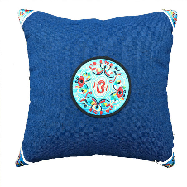 Chinese Ethnic Embroidered Dining Chair Cushion Cover 45x45 cm Sofa Lumbar Cushion Decorative Cotton Linen Pillow Case