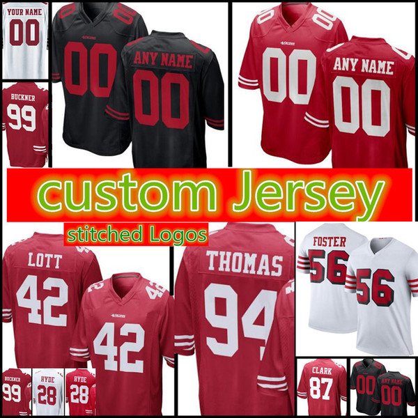 los angeles 3acee fedc8 2018 San Francisco 49ers Custom Jersey Mens 42 Ronnie Lott 44 Tom Rathman  28 Carlos Hyde 99 DeForest Buckner 88 Garrett Celek 94 Thomas Jerseys From  ...