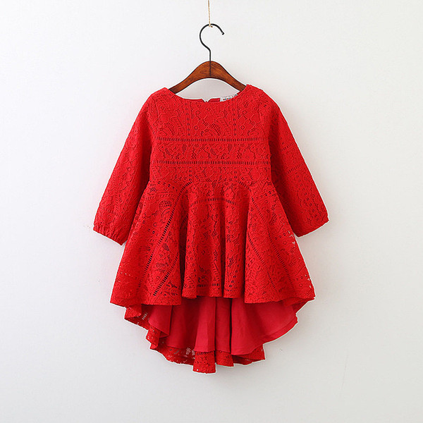 best selling 5250 Red Lace Long Sleeve Princess Party A-line Kid Dresses For Baby Girls 2018 Spring Children Clothing wholesale kids Clothes