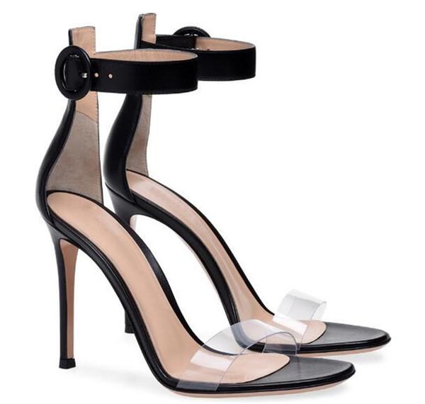 46387c681f2 Brand Design Women Fashion Open Toe PVC Strap Thin Heel Sandals Cut Out  Transparent Ankle Strap High Heel Sandals White Black Dress Shoes Purple  Shoes ...