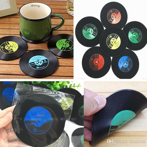 CD Records Coaster Vinilo CD Record Copas Drinks Holder Mat Vajilla Placemat Para Bar Home Cup Accesorios HH7-1532