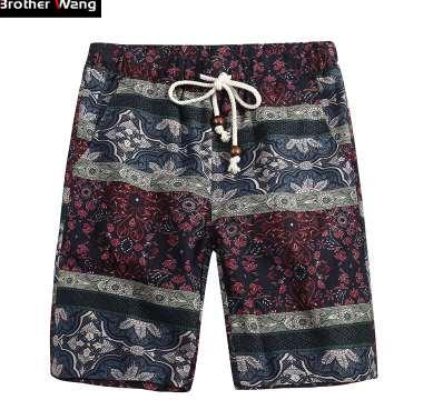 Брат Ван бренд 2018 Лето новые мужские шорты мода повседневная свободные прямые цветочный узор пляж шорты мужской 5135