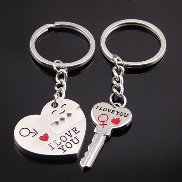 Corazón de la moda Llaves anillo Color plata Amante Amor Llavero Regalo del Día de San Valentín 1Pair Pareja Te amo Carta Llavero llavero ringe