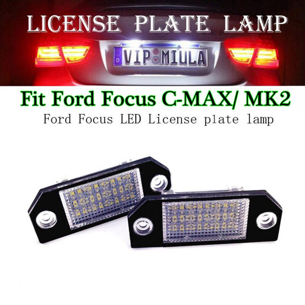 2pcs/lot License Plate Light For Ford Focus C-Max 24 SMD-3528 LED Car Auto Number Plate Lamps Licence Lights For Ford Focus MK2