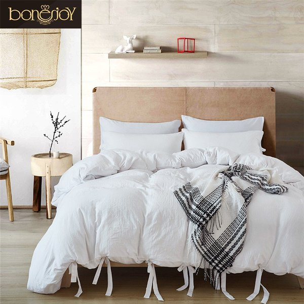 Bonenjoy White Bedding Set King Luxury Cotton Hotel Bedding Sets Solid Bed Cover Queen Size Ties Duvet Cover Kit