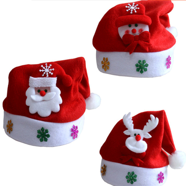 1pc Christmas Hat Christmas Applique Cartoon Decoration Hat New Year Child Decoration Gifts for Kids Kerst Navidad. Q