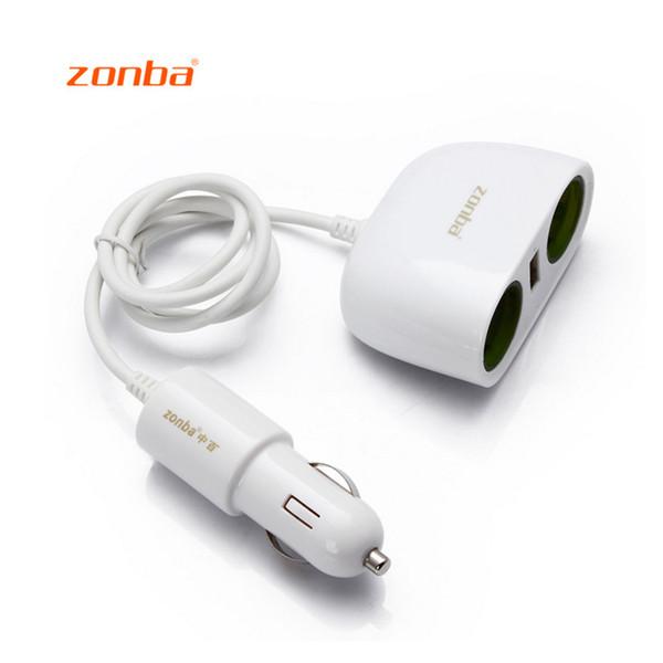 Zonba Car Cigarette Lighter USB Cargador de coche de carga 2port adaptador para teléfono móvil para GPS Grabadora de conducción Envío gratis