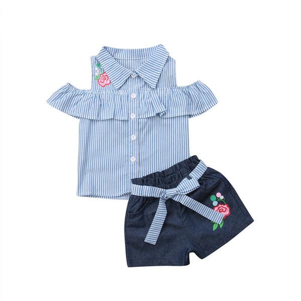 Süßes Neugeborenes Baby Mädchen Kleidung Schulterfrei Sky Blue Striped Tops + Stickerei Hose Shorts mit Gürtel Outfit Denim Kleidung Set